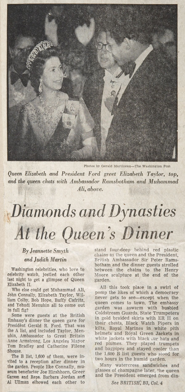 Diamonds, Dynasties at the Queen's Dinner